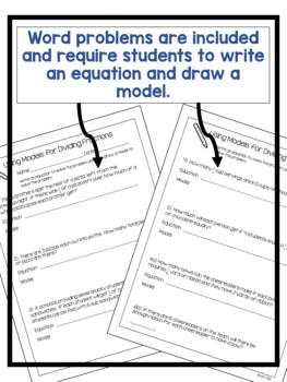 Dividing Fractions Using Models Activity and Word Problems