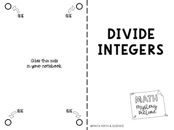 Divide Integers: Math Mystery Picture by Mata Math and