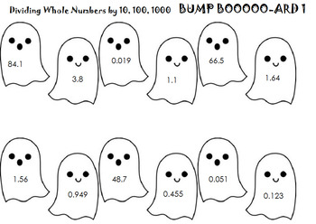 Dividing Whole Numbers By Powers of Ten (A ghost, 2 games