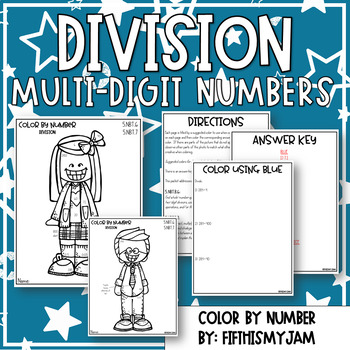 Division Color By Number 5.NBT.6 and 5.NBT.7 by Fifth is