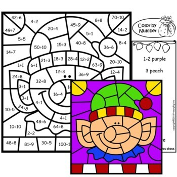 Division Color by Number Math Mystery Pictures Christmas