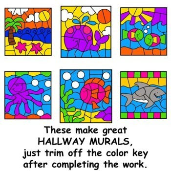 Division Color by Number Math Mystery Pictures Ocean