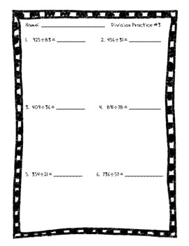 Long Division Practice Packet with 2-Digit Divisors by