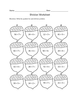 Division Worksheet : Fall Theme FREE by Learning is Lots
