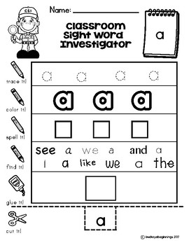 Dolch Pre-Primer Sight Word Worksheets: Classroom Sight