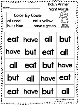 Dolch Primer Color The Words By Color Code Worksheets