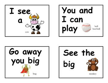 Dolch Sight Word Rebus Flash Cards First Sight Words pre