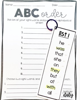Dolch Sight Words- Primer- List, Bookmarks, Flashcards by