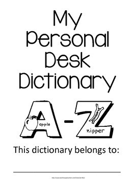 First Grade Student Desk Dictionary by Teaching with Jen