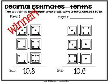 1 2 3 Math: Decimal Estimation and Addition Game, Practice