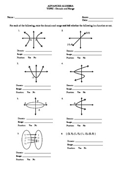 Domain And Range From A Graph Worksheet : domain, range, graph, worksheet, Domain, Range, Worksheet, Graph, Teachers