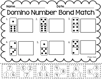Domino Number Bond Match, Cut and Paste- Common Core