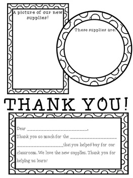 Donors Choose Thank You Printables by Teacher with a Diet