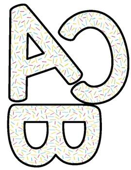Free Printable Bulletin Board Letters : printable, bulletin, board, letters, Donut, Sprinkles, Bulletin, Board, Letters, (Printable), Flynn's, Finns