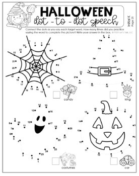 Dot to Dot Speech for Halloween by Speech Therapy with