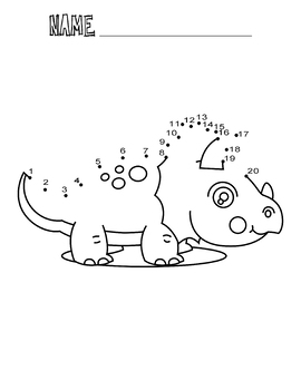 Dot to Dot Worksheets Dinosaur Dot to Dot 1-20 Coloring