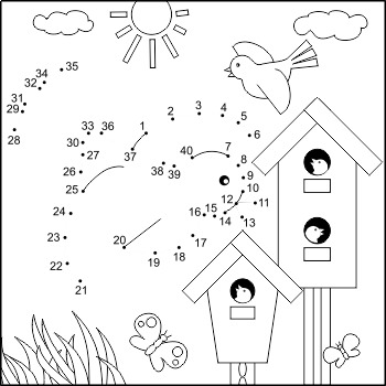 Dot-to-dot and Coloring Activity Page with Birds and