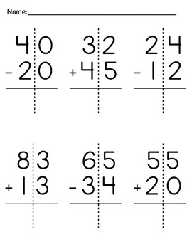 Double-Digit Addition and Subtraction Packet by Hall