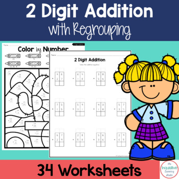 Double Digit Addition with Regrouping Worksheets by