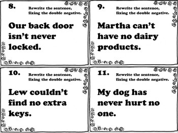 Double Negative Task Cards (FREE) by Chalkboard Creations