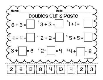 Doubles & Doubles Plus One Cut and Paste-CC- ENY Engage