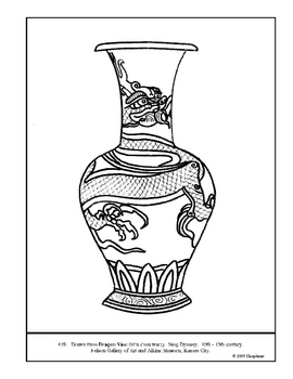 Dragon Vase (Chinese). Coloring page and lesson plan ideas
