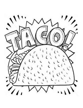 Dragons Love Tacos- Taco Coloring Page by Jaclyn Daily