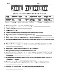 Drama Vocabulary Fill-in-the-Blanks Worksheet by Melissa ...