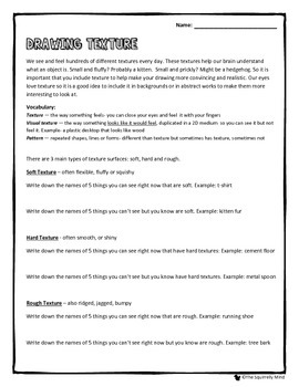 Drawing Texture Lesson Worksheet By The Squirrelly Mind