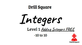 Drill Square Adding Integers Level 1 FREE!!! by Math