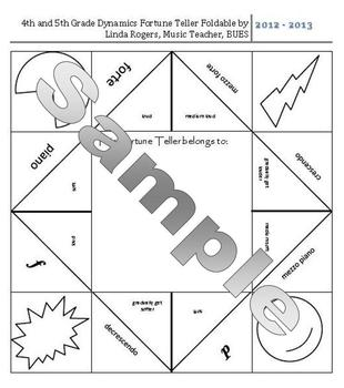 Dynamics Fortune Teller for 4th-5th Grade General Music by