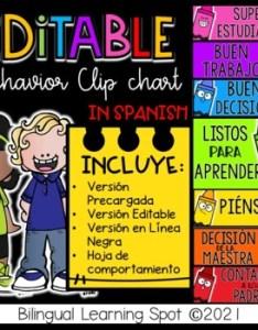 Editable behavior clip chart in spanish crayon edition also by rh teacherspayteachers
