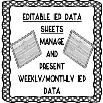 EDITABLE IEP DATA SHEETS FOR PROGRESS MONITORING by Ashley