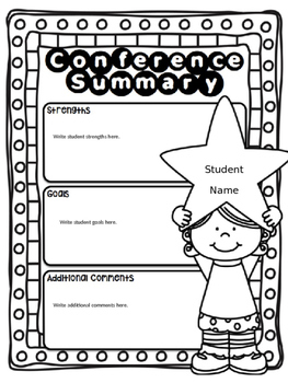 EDITABLE Parent Teacher Conference Forms: Goal Sheet