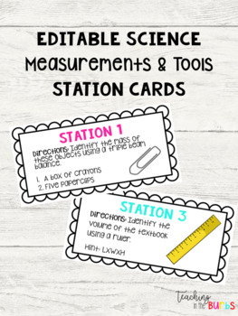 EDITABLE Science Measurements & Tools Station Cards by