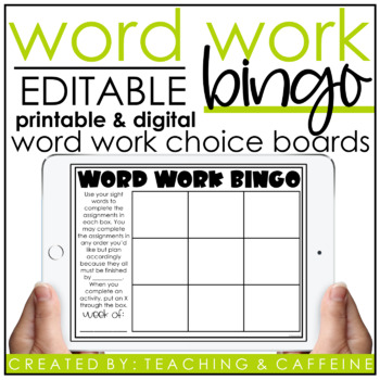 EDITABLE Word Work Bingo Card Template by Teaching and