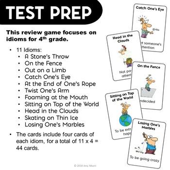 ELA Test Prep IDIOMS Go Fish Card Game 3rd 4th Grade FSA