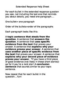 ELA Test Extended Response Activity Puzzle And Essay
