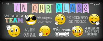 EMOJI theme  Classroom Decor LARGE BANNER In Our Class