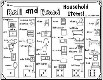 ESL Household Vocabulary! Roll and Read Game ESL