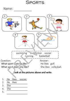 ESL Sports worksheet and games for elementary grades by