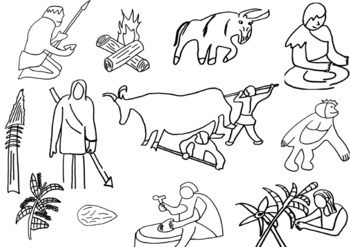 Early Humans and Stone Age Clip Art, 24 Images Color AND