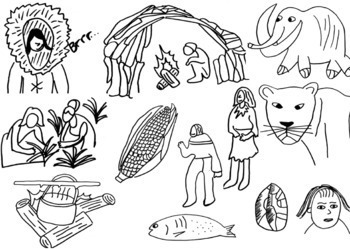 Early Humans and Stone Age Clip Art, 24 Images (Black and