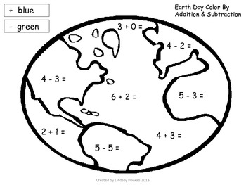 Earth Day Color by Addition & Subtraction Activity by