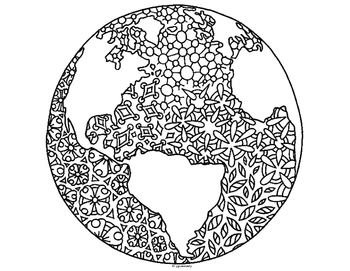 Earth Day Globe World Zentangle Coloring Page by Pamela