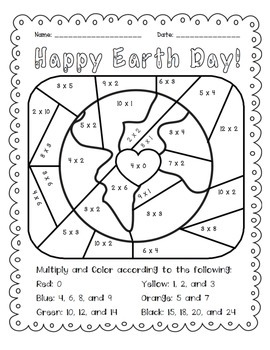 Earth Day: Multiply and Color Activity by The Busy Class