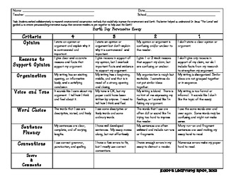 Earth Day Persuasive Writing Rubric By Kdot's Learning