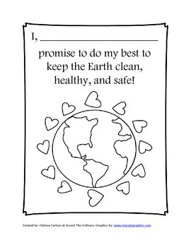 Earth Day Coloring Page and Pledge by Accent The Ordinary