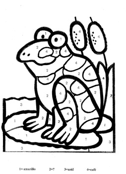 Color by Number in Spanish-La Rana Coqui-Frog Theme by El