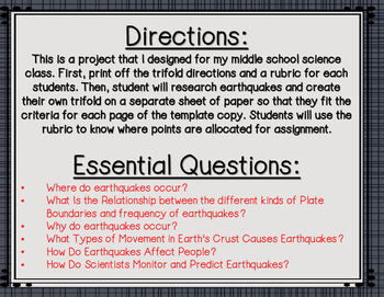 Earthquake Research Tri Fold Brochure By Lauren White TpT